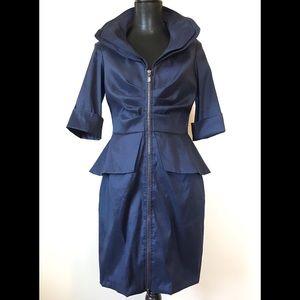 Joseph Ribkoff Navy Blue Front Zip Coat Dress